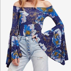 We the Free Off the shoulder bell sleeve floral